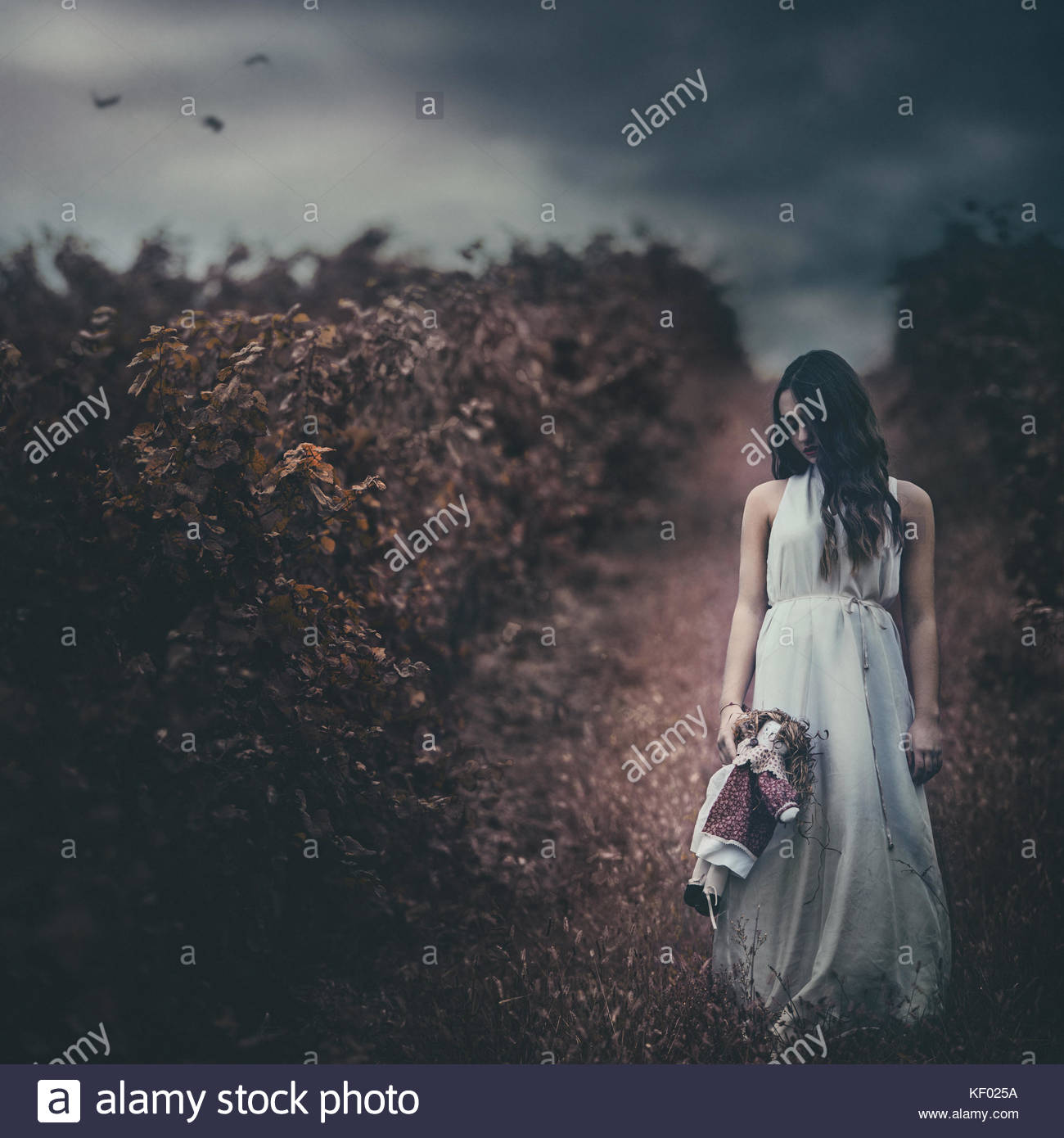 Girl holding a doll, standing in a vineyard at dusk, cloudy sky, sad expression - Stock Image