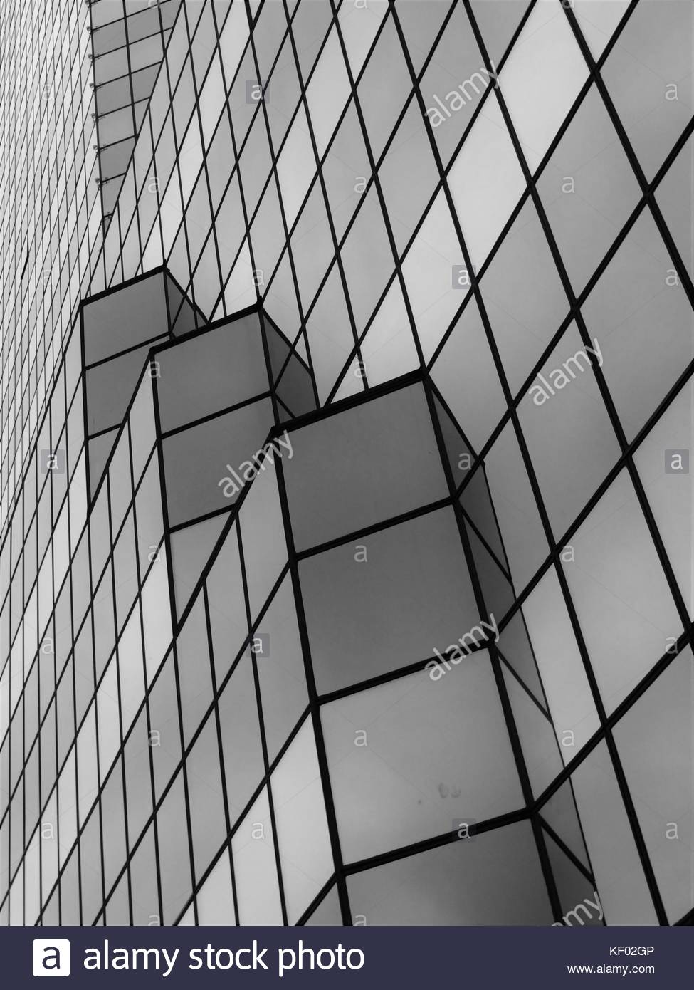 Minimalist B&W photo of skyscraper windows without reflections. - Stock Image