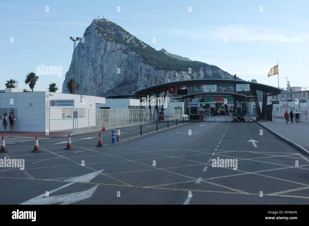 The border with Spain entering Gibraltar, September 2017 - Stock Image