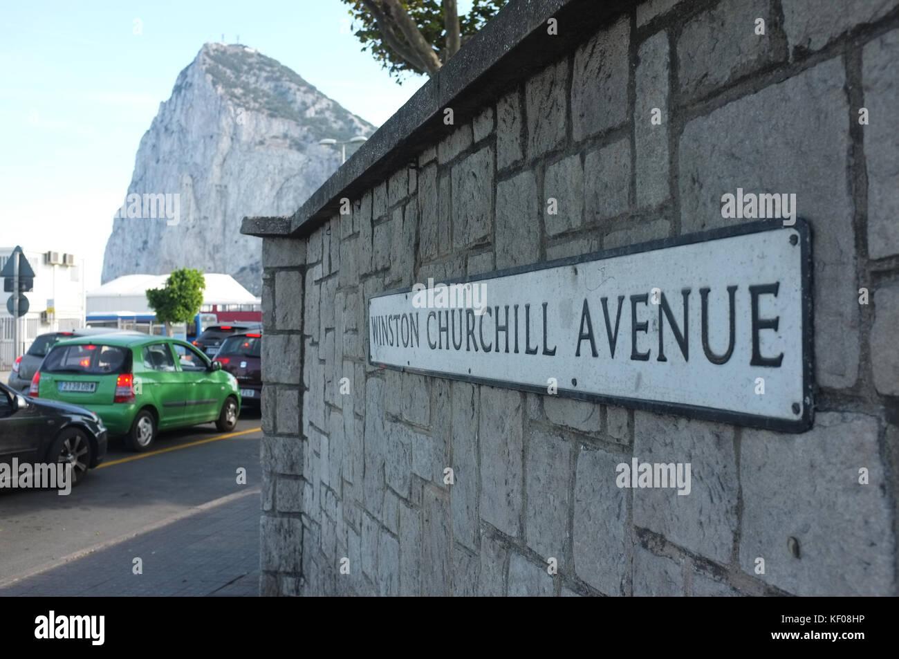 Street sign of Winston Churchill Avenue, Gibraltar, September 2017 - Stock Image