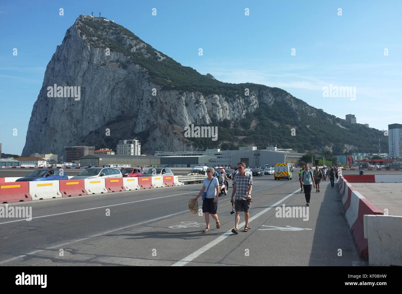 Winston Churchill Avenue, which crosses the airport runway, Gibraltar, September 2017 - Stock Image