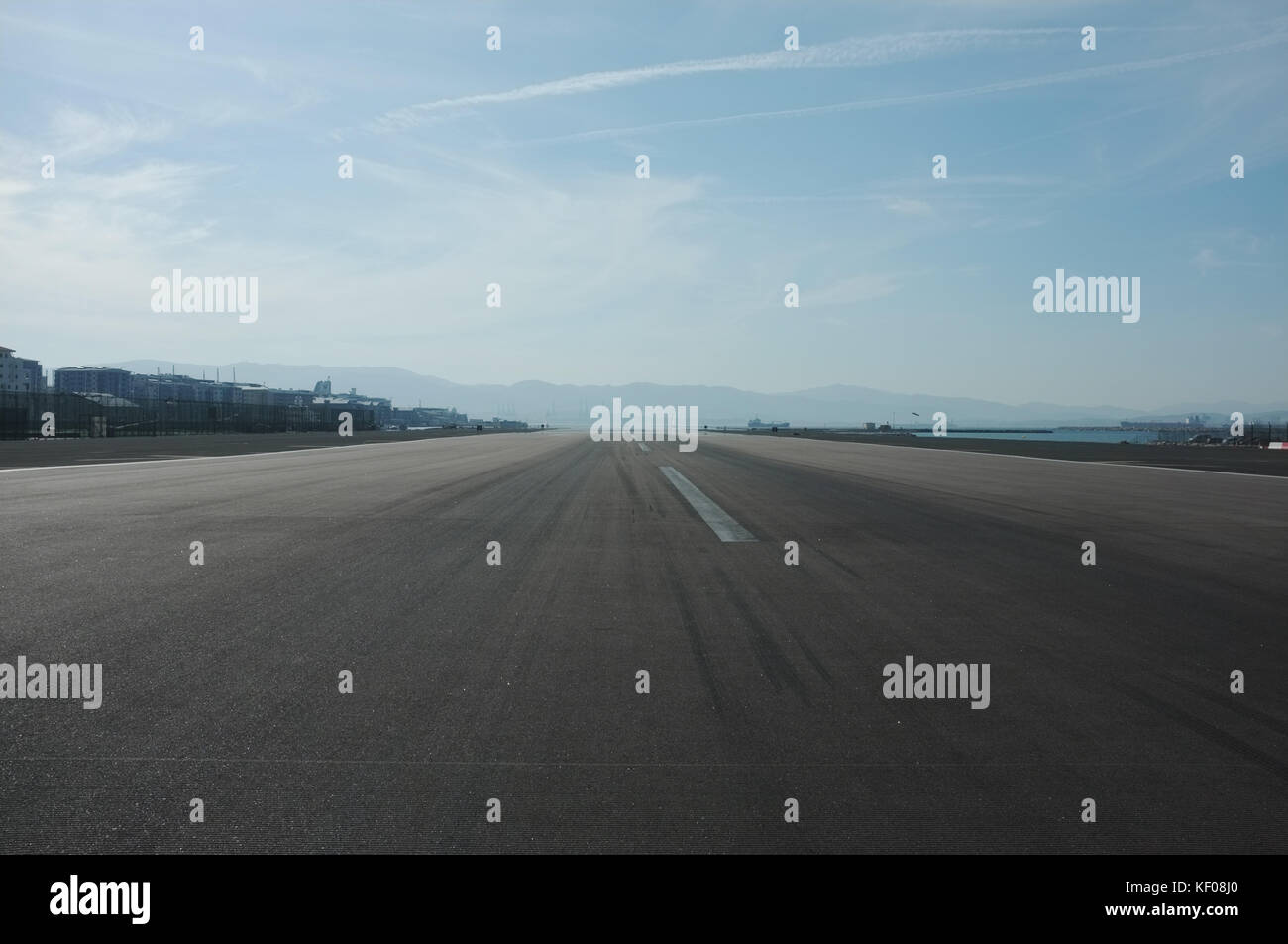Facing west along the airport runway, Winston Churchill Avenue, Gibraltar, September 2017 - Stock Image