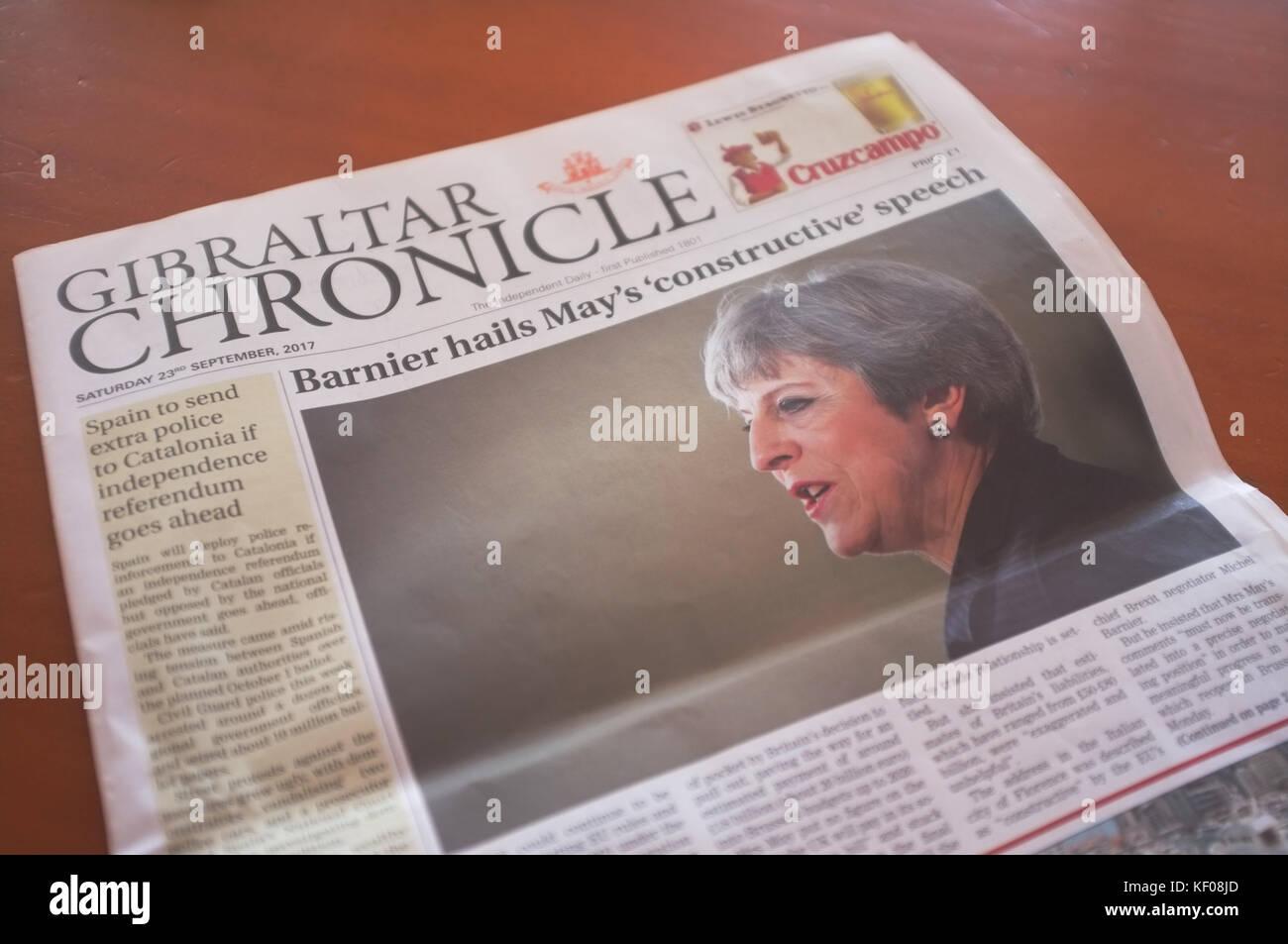 Gibraltar Chronicle newspaper, Gibraltar, September 2017 - Stock Image