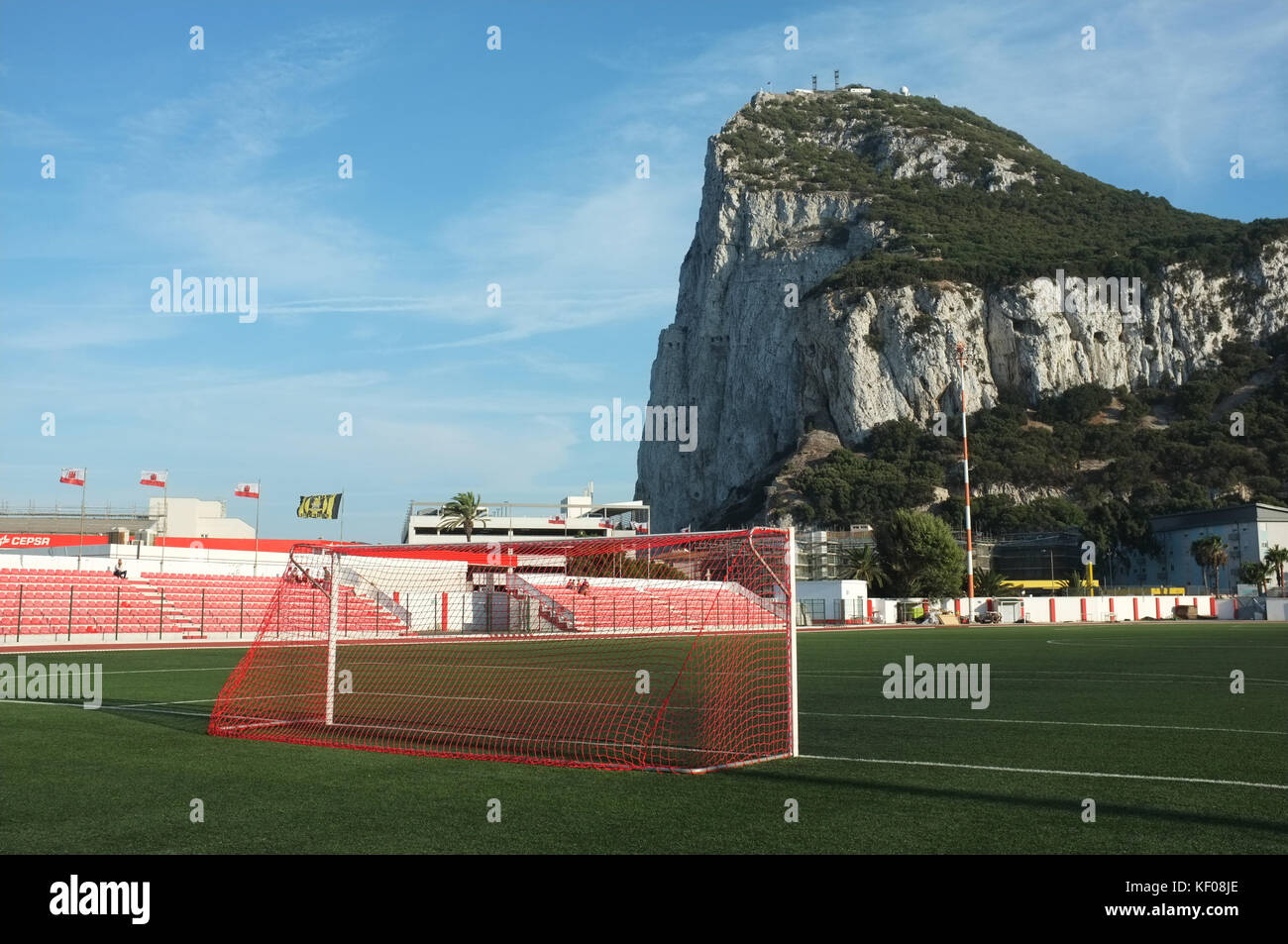 Goalposts, Victoria Stadium, Gibraltar, September 2017 - Stock Image