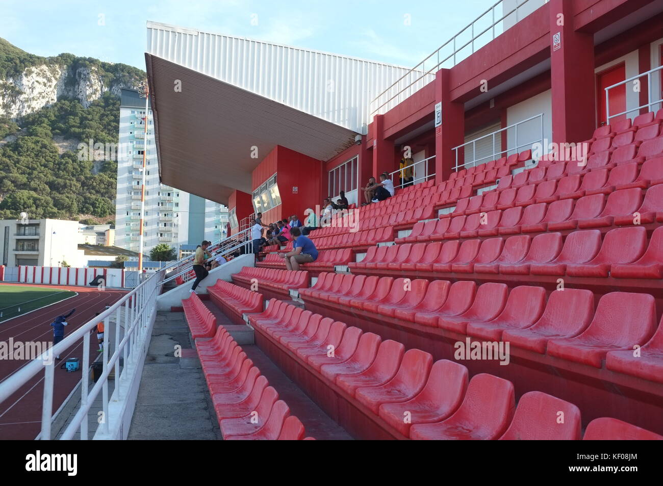 Main stand at Victoria Stadium, Gibraltar, September 2017 - Stock Image