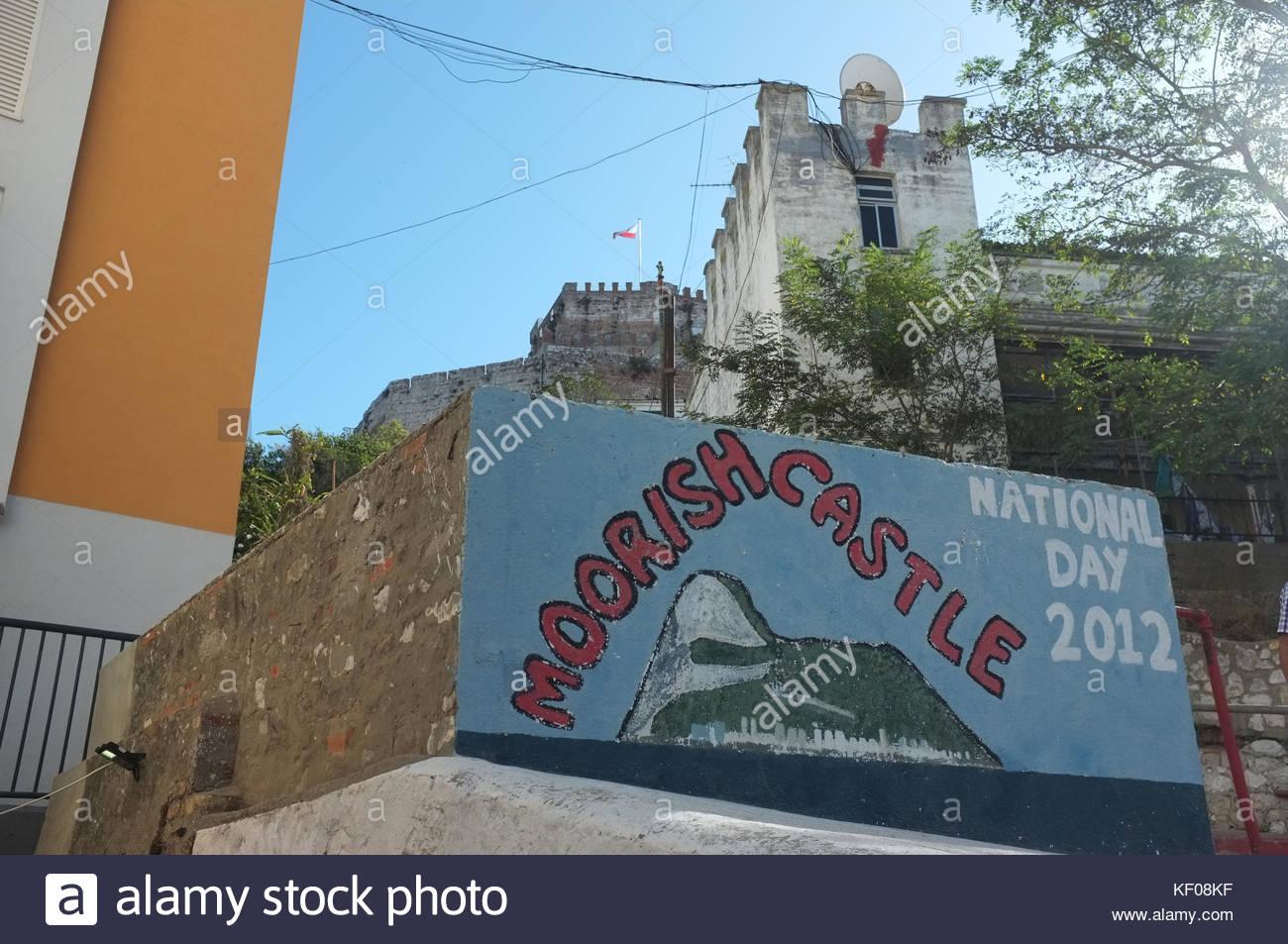 Mural near the Moorish castle, Gibraltar, September 2017 - Stock Image