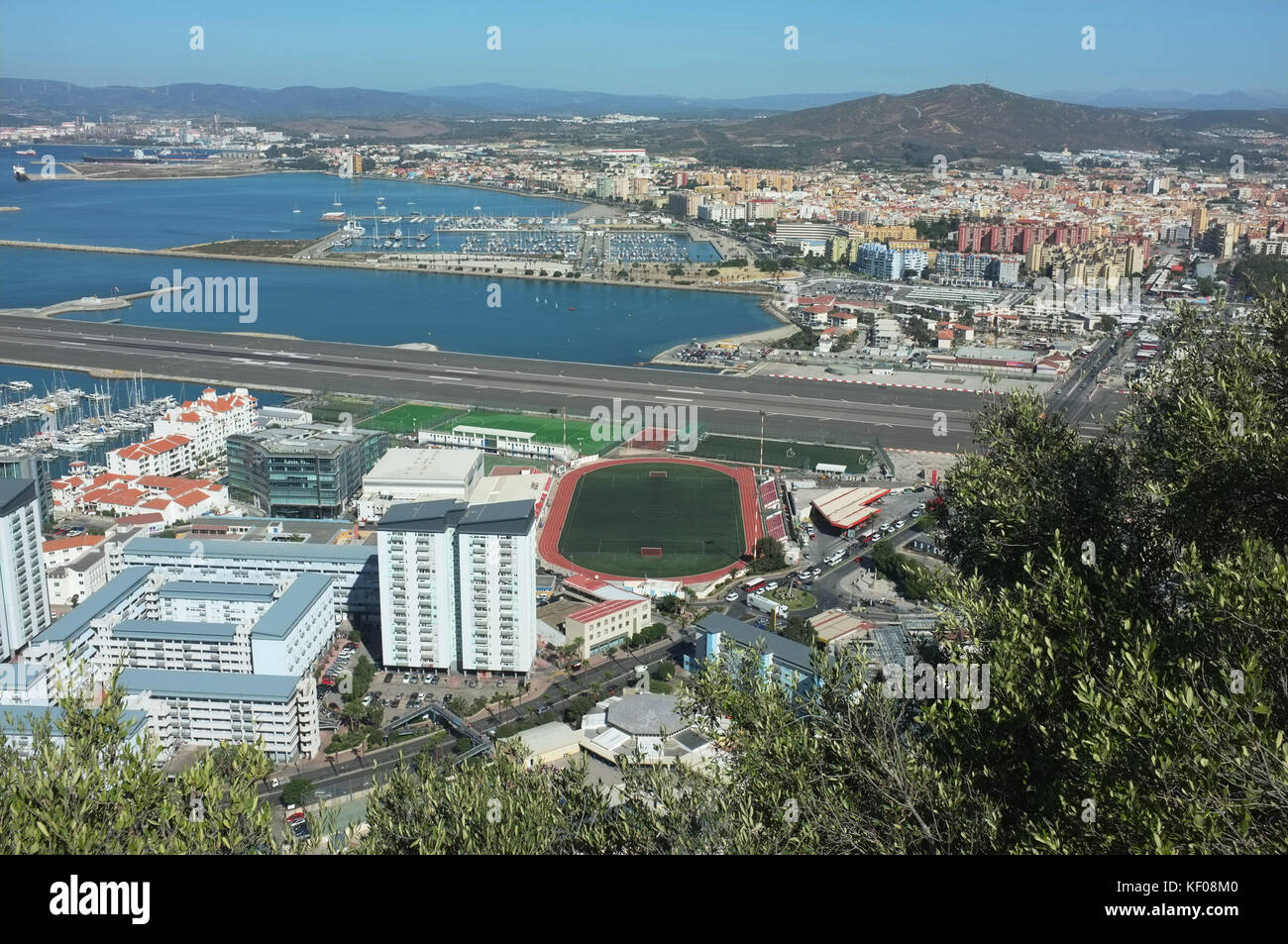 View of La Linea de la Conception, Victoria Stadium and Gibraltar airport from the Moorish castle, Gibraltar, September - Stock Image