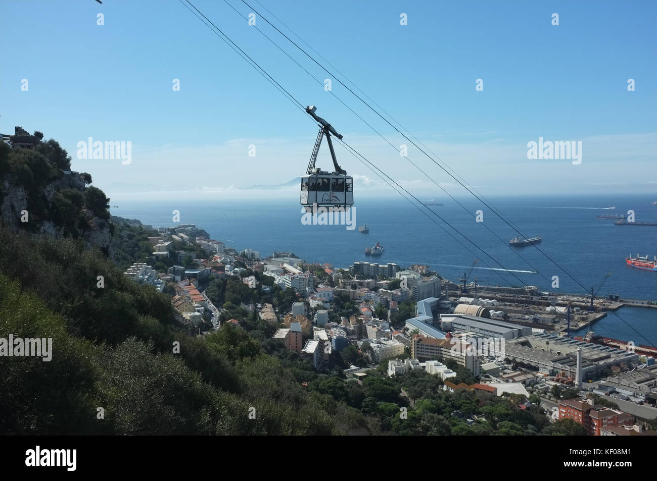 Cable car with Morocco in the distance, Gibraltar, September 2017 - Stock Image