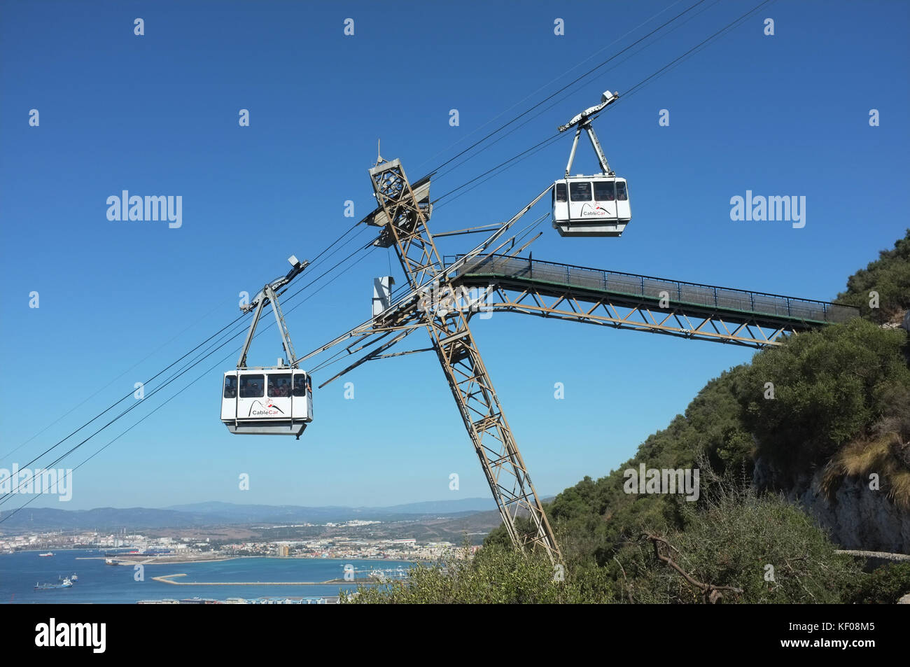 Cable car, Gibraltar, September 2017 - Stock Image