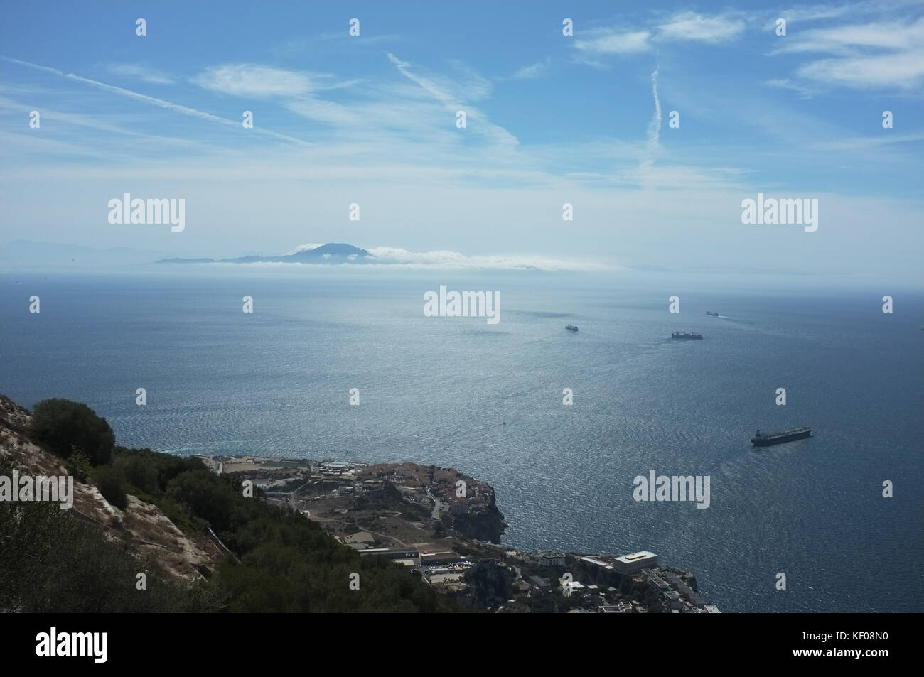 The view towards Africa from O'Hara's Battery, Gibraltar, September 2017 - Stock Image