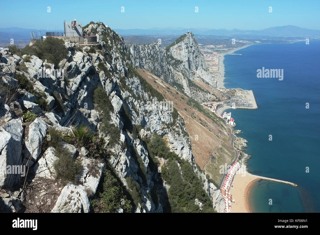 The view of the east of the rock towards Spain from O'Hara's Battery, Gibraltar, September 2017 - Stock Image