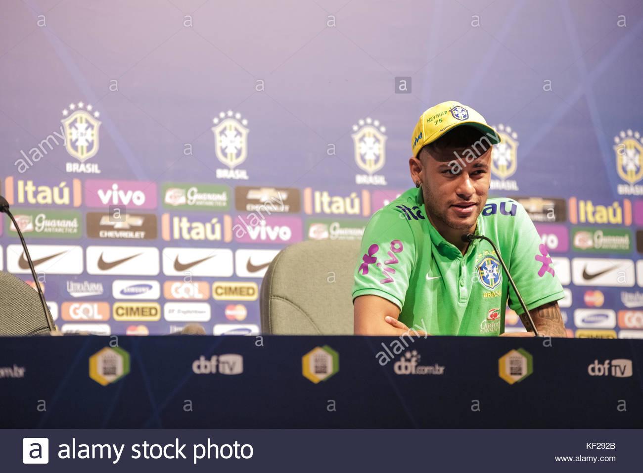 Brazil Press Conference - PERNAMBUCO, BRAZIL - MARCH 24: Neymar Jr of Brazil looks on during a press conference - Stock Image