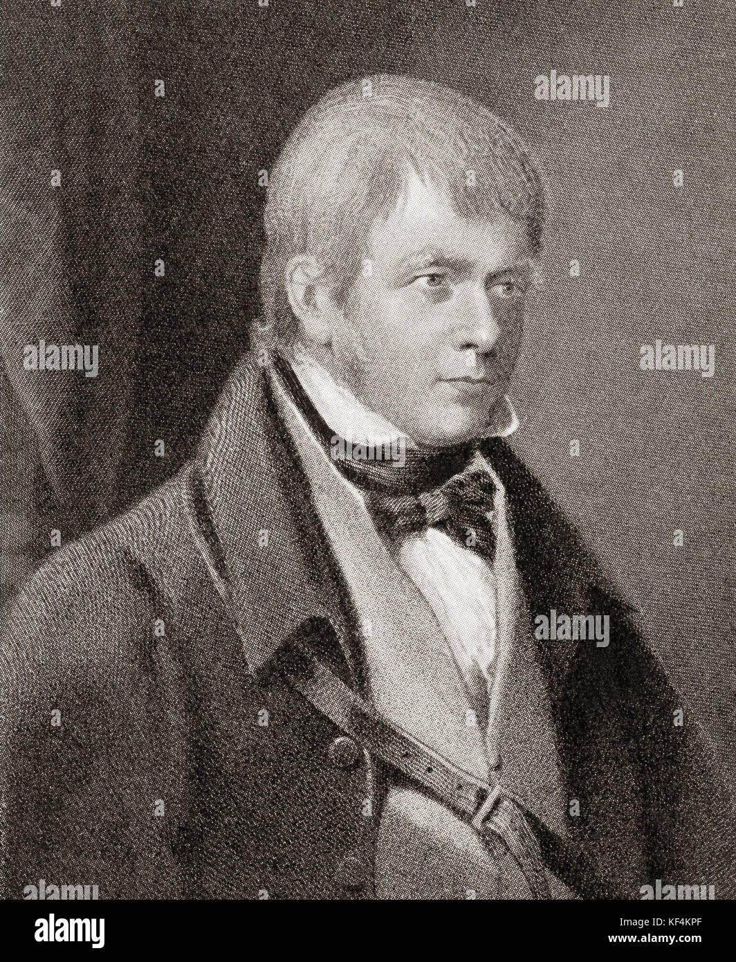 Sir Walter Scott, 1st Baronet,  1771 – 1832.  Scottish historical novelist, playwright and poet.  From Hutchinson's - Stock Image