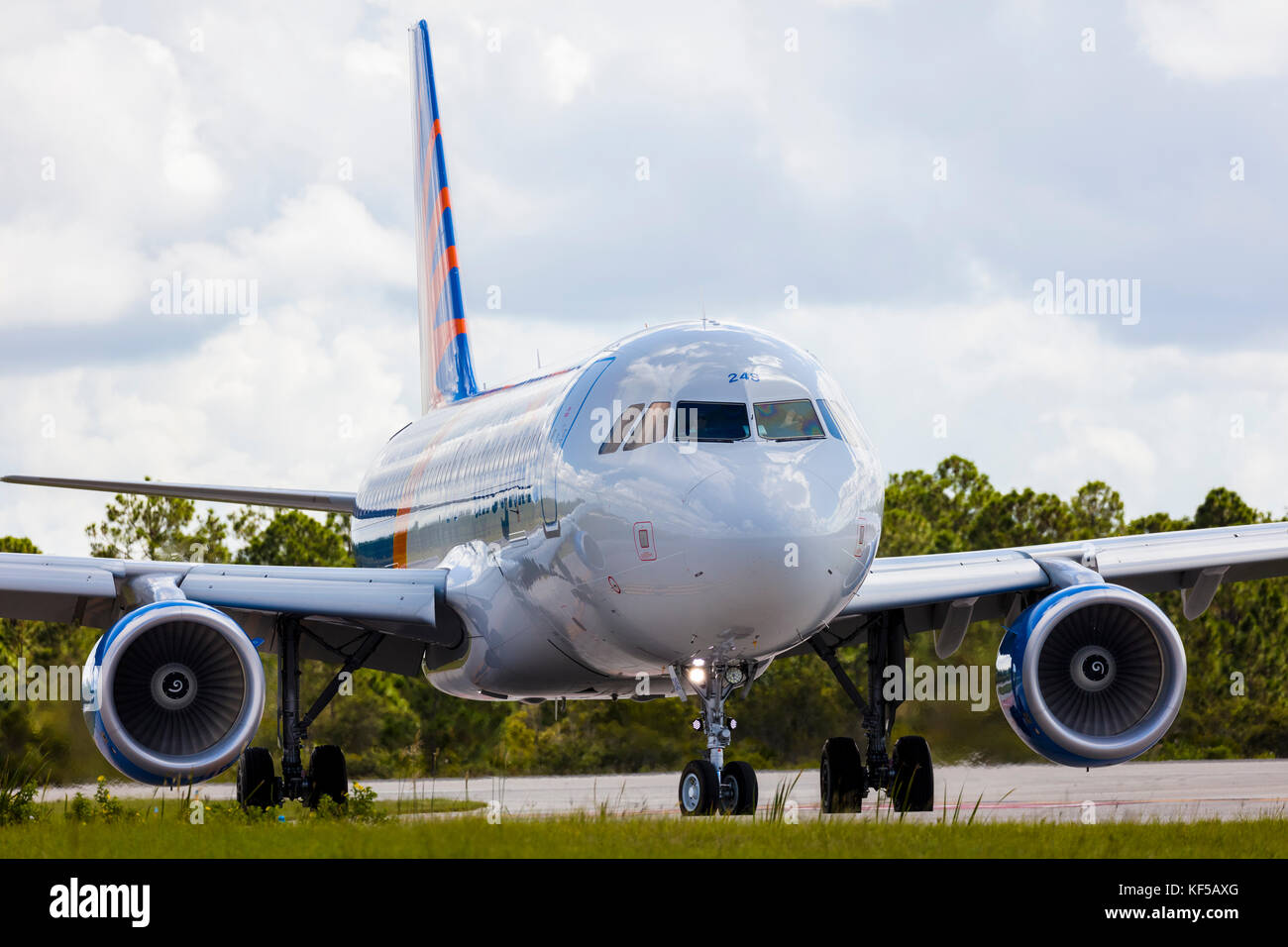 Allegiant commercial passenger airliner taxiing on ground at Punta Gorda Florida airport - Stock Image