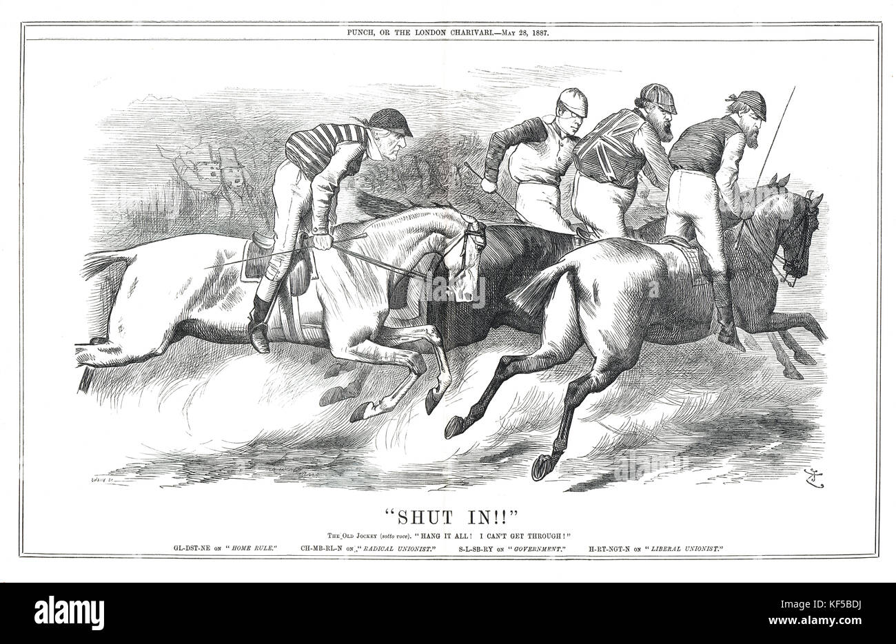 Gladstone on Home Rule, shut in. 1887 Punch cartoon Horse racing analogy showing politicians as jockeys referencing - Stock Image