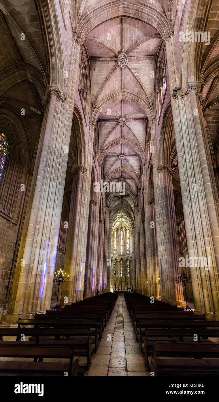 Interior of the Batalha Monastery, a prime example of Portuguese Gothic architecture, UNESCO World Heritage site - Stock Image