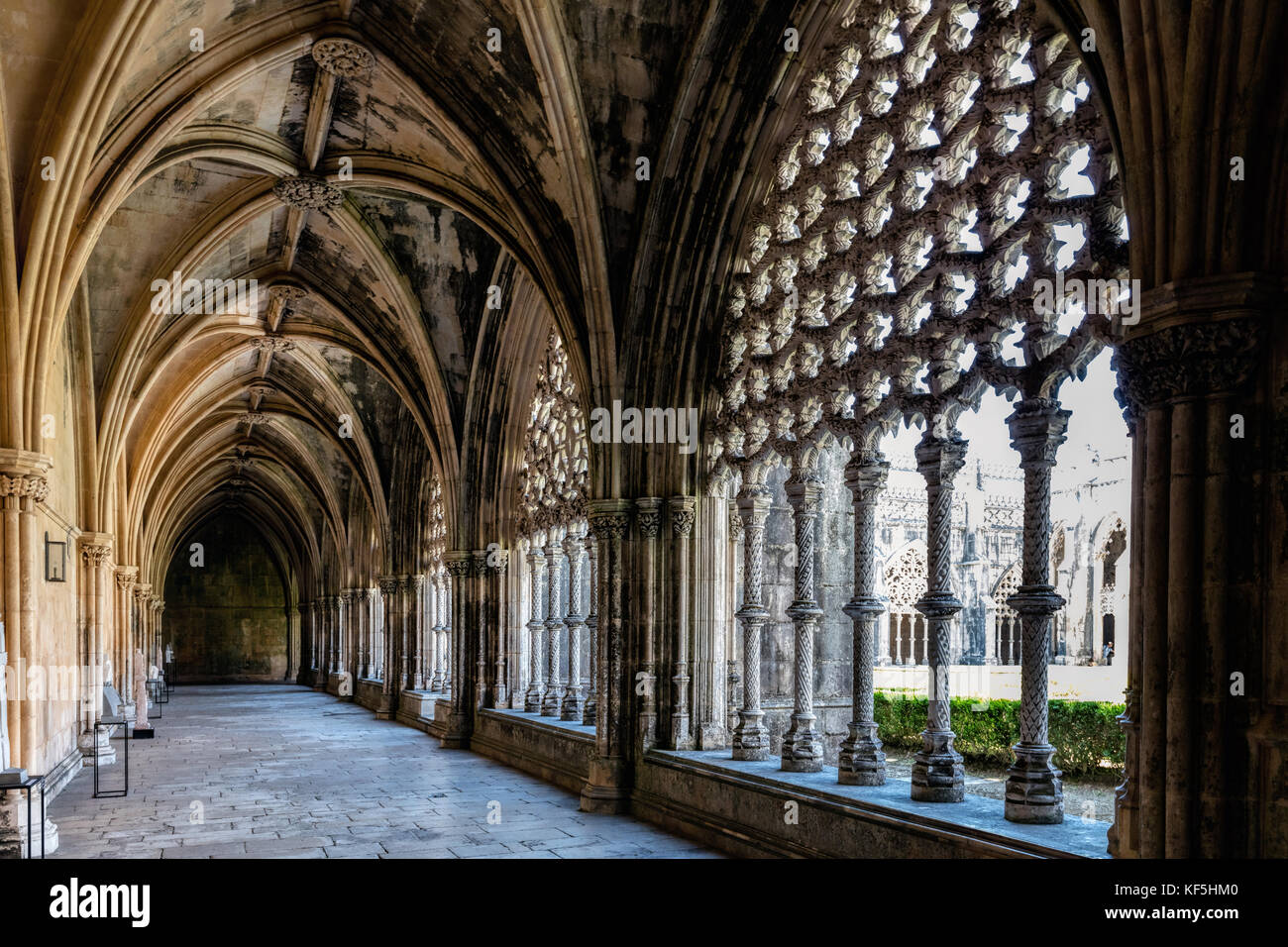 King John I Cloisters of the Batalha Monastery, a prime example of Portuguese Gothic architecture, UNESCO World - Stock Image