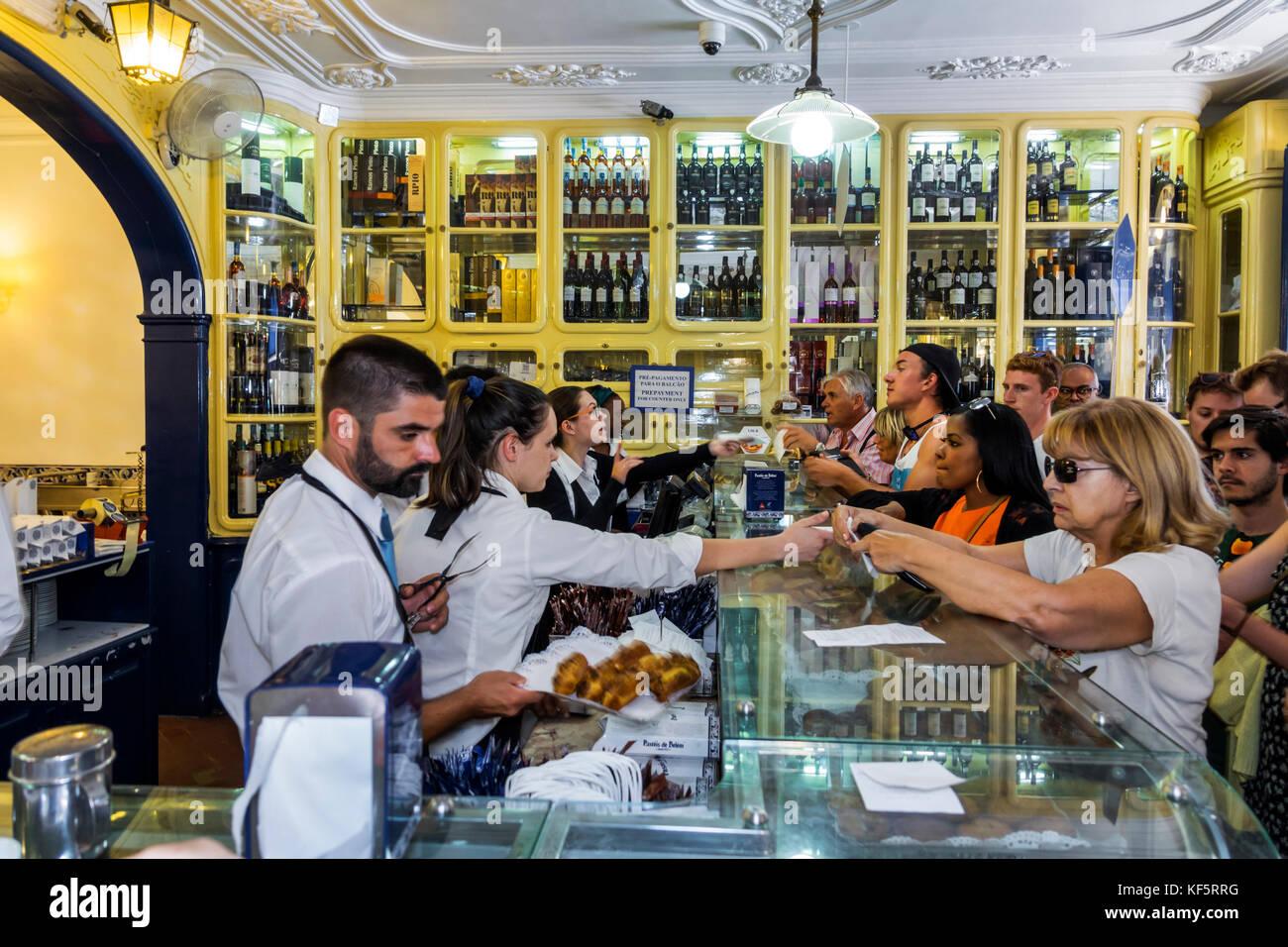 Lisbon Portugal Belem historic district Rua de Belem Fabrica de Pasteis de Belem bakery pastry shop Portuguese confectionery - Stock Image