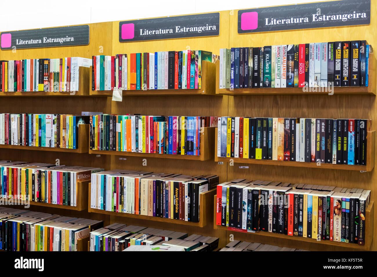 Lisbon Portugal Belem Centro Cultural de Belem cultural center arts complex Bertrand bookstore bookshop books shelves - Stock Image