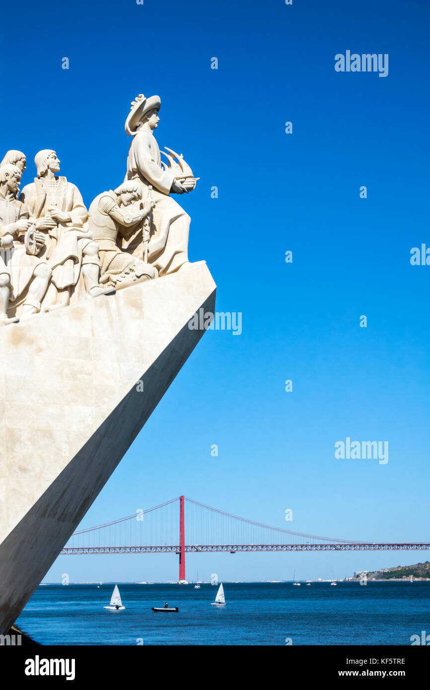 Lisbon Portugal Belem Tagus River Padrao dos Descobrimentos Monument of the Discoveries Henry the Navigator waterfront - Stock Image