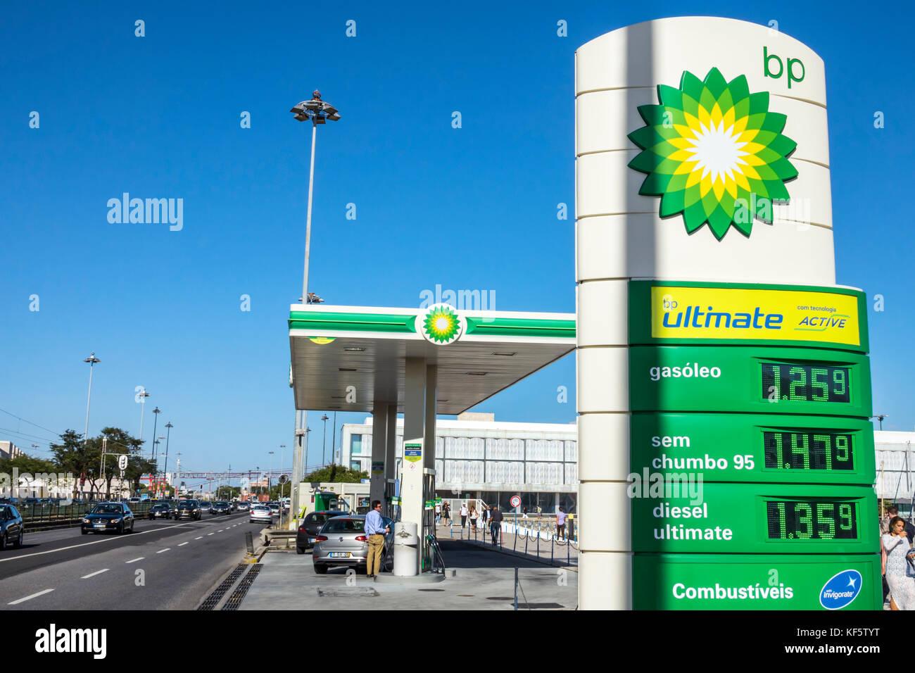 Lisbon Portugal Belem Avenida Brasilia parkway bp British Petroleum gas station pump price - Stock Image