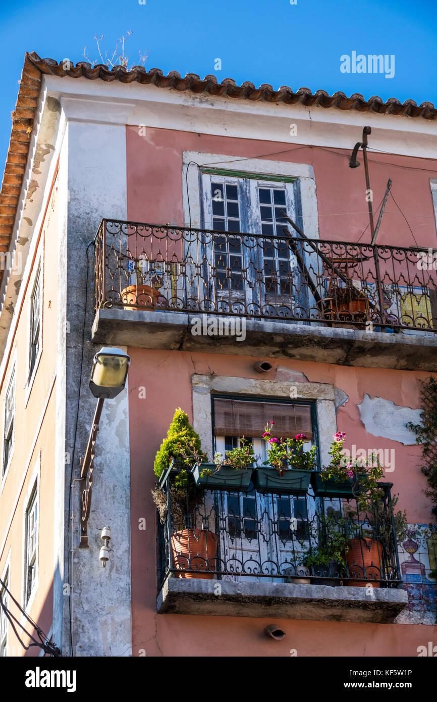 Lisbon Portugal Belem Rua Da Praia do Bom Sucesso residential apartment building apartments flats balcony ornamental - Stock Image