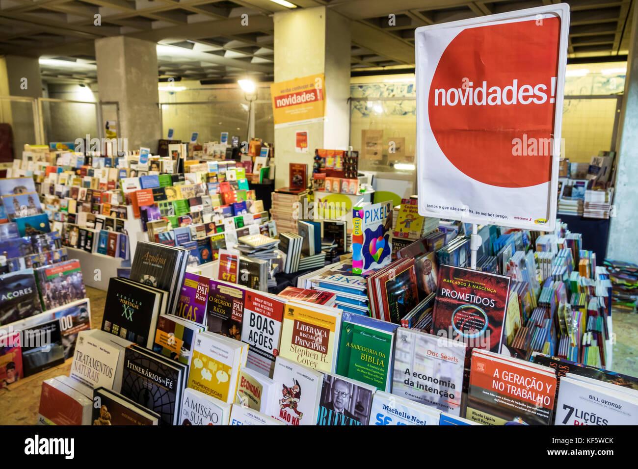 Lisbon Portugal Praca Marques de Pombal Metro Lisboa subway station concession shopping bookstore books Portuguese - Stock Image