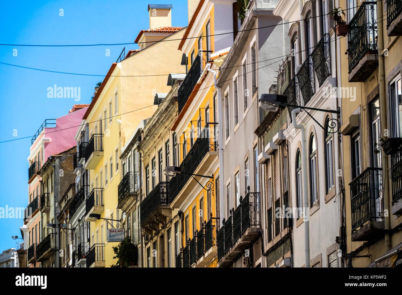 Lisbon Portugal Rato Rua De Sao Filipe Neri neighborhood residential apartment buildings balconies - Stock Image