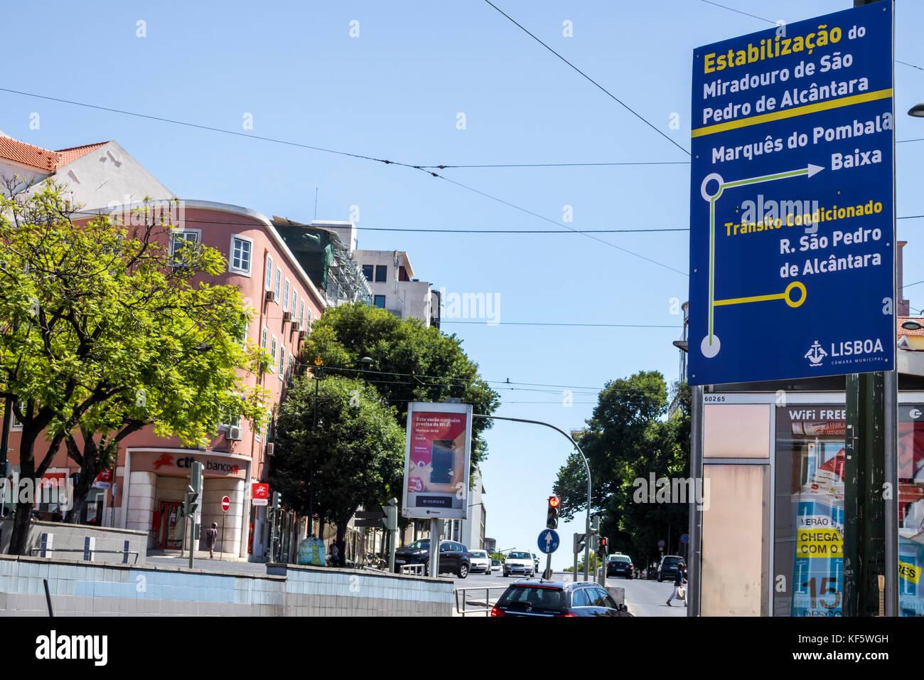 Lisbon Portugal Largo do Rato street sign directions detour rerouted traffic Portuguese language - Stock Image