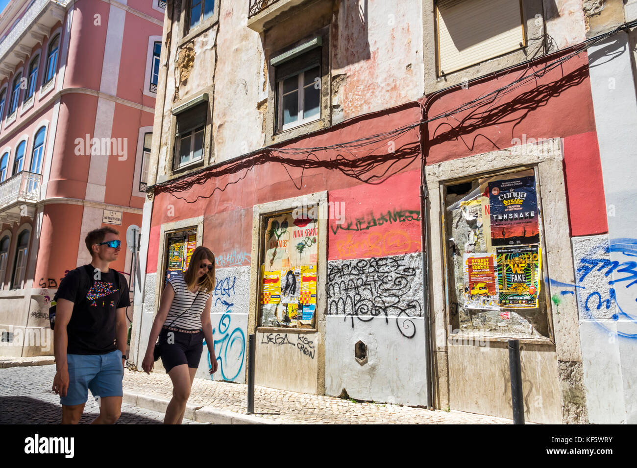 Lisbon Portugal Bairro Alto historic district Principe Real Rua da Rosa neighborhood building dilapidated cobblestone - Stock Image