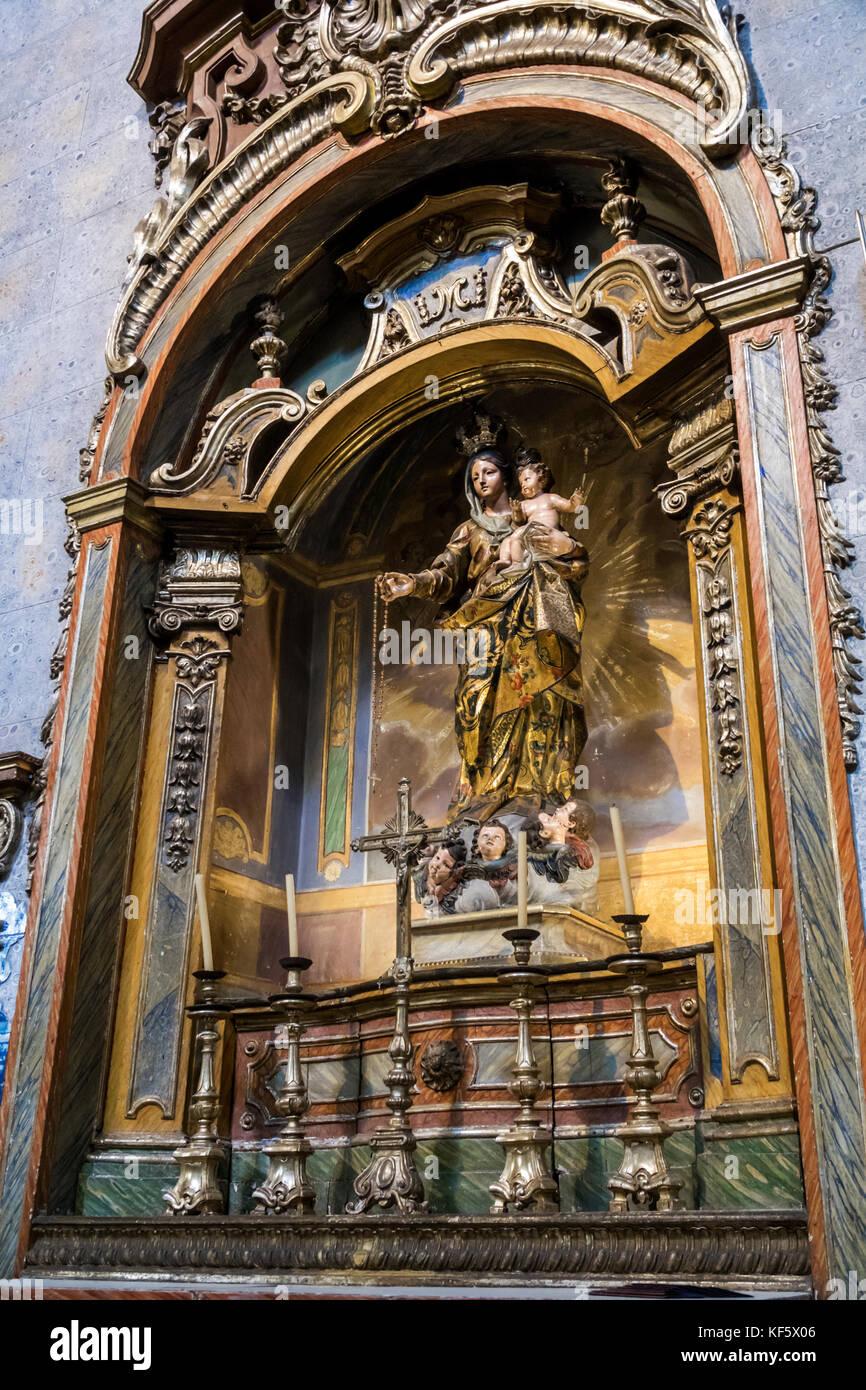 Lisbon Portugal Bairro Alto historic district Convento de Sao Pedro de Alcantara Catholic church Baroque gild virgin - Stock Image