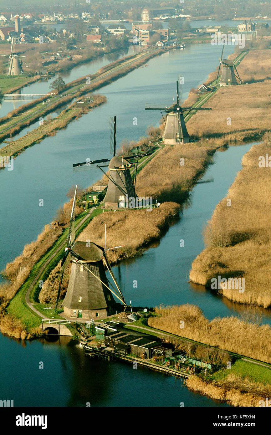 Aerial View of Unesco World Heritage Windmills of Kinderdijk with reed fields, The Netherlands - Stock Image
