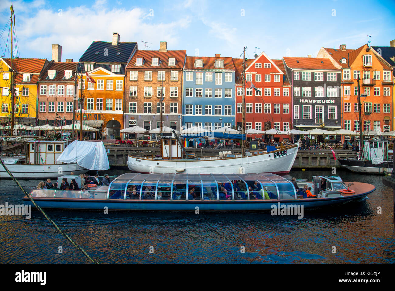 Nyhavn colorful houses in copenhagen,denmark - Stock Image