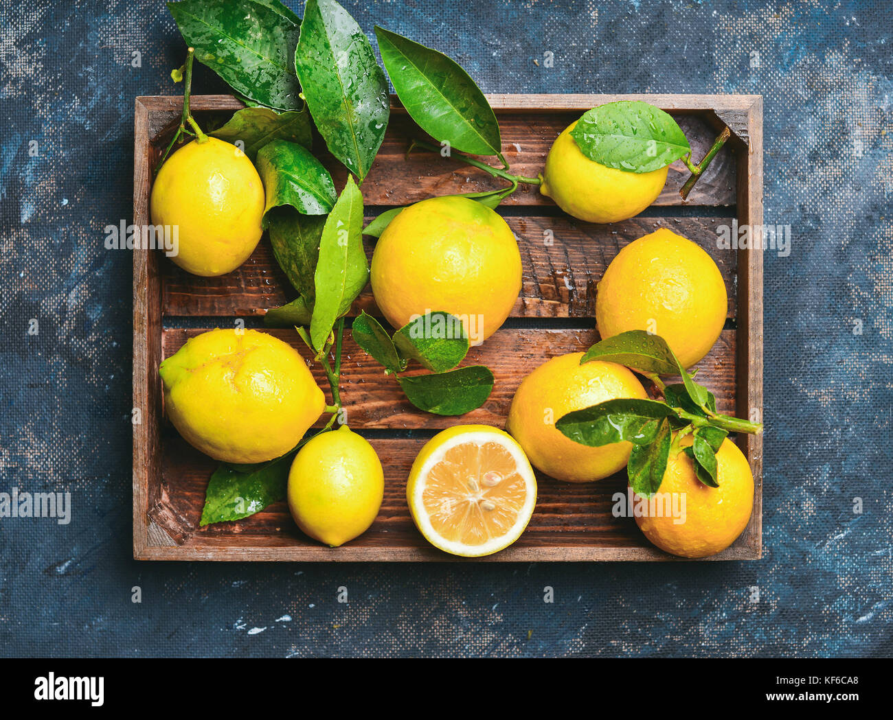 Freshly picked lemons with leaves - Stock Image
