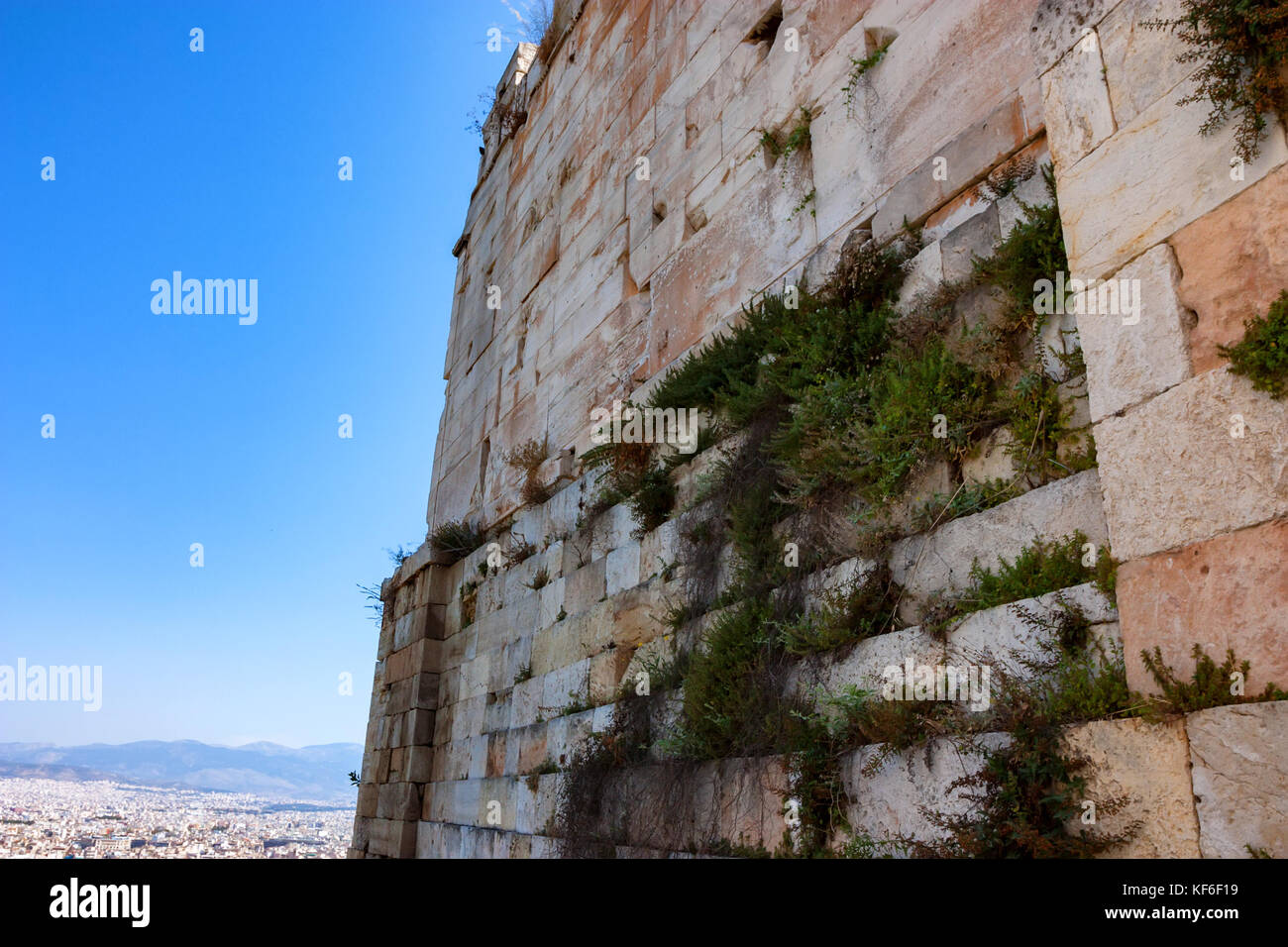Wall of the Acropolis wall in Greece - Stock Image