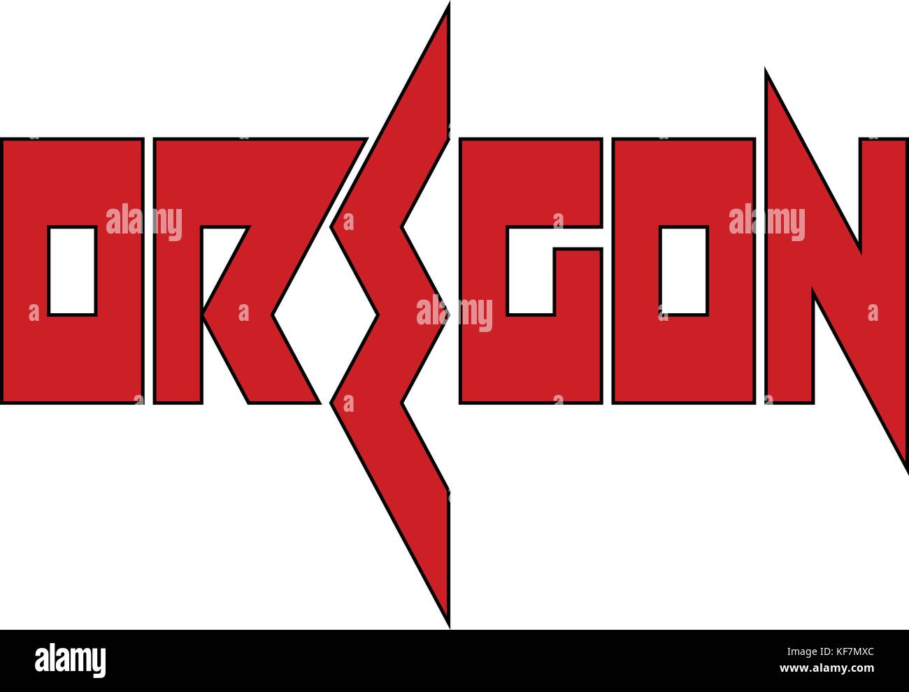 Oregon text sign illustration on whithe Background - Stock Image