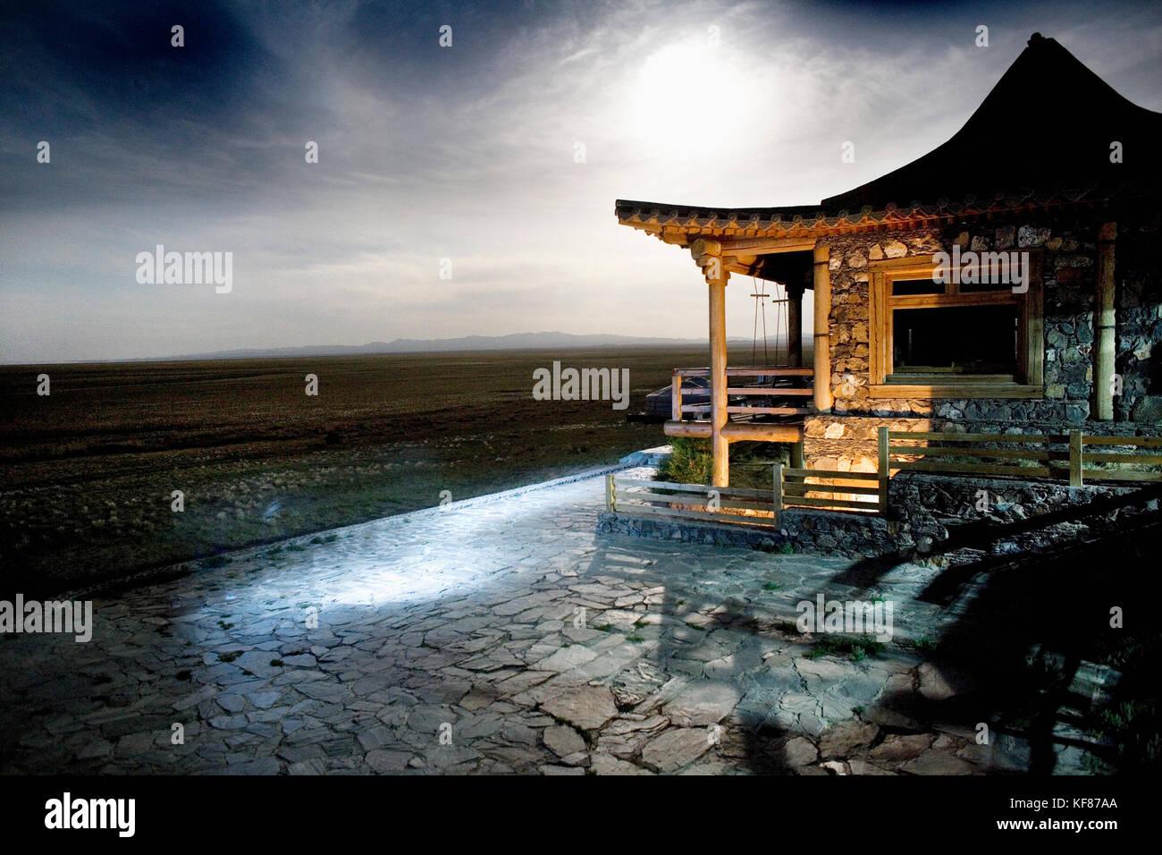 MONGOLIA, Ger camp in Gurvansaikhan National Park, Three Camel Lodge, the Gobi Desert - Stock Image