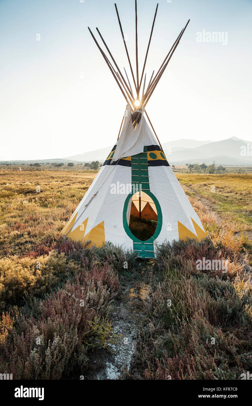 USA, Nevada, Wells, colorful tipis are scattered all over Mustang Monument, A sustainable luxury eco friendly resort - Stock Image