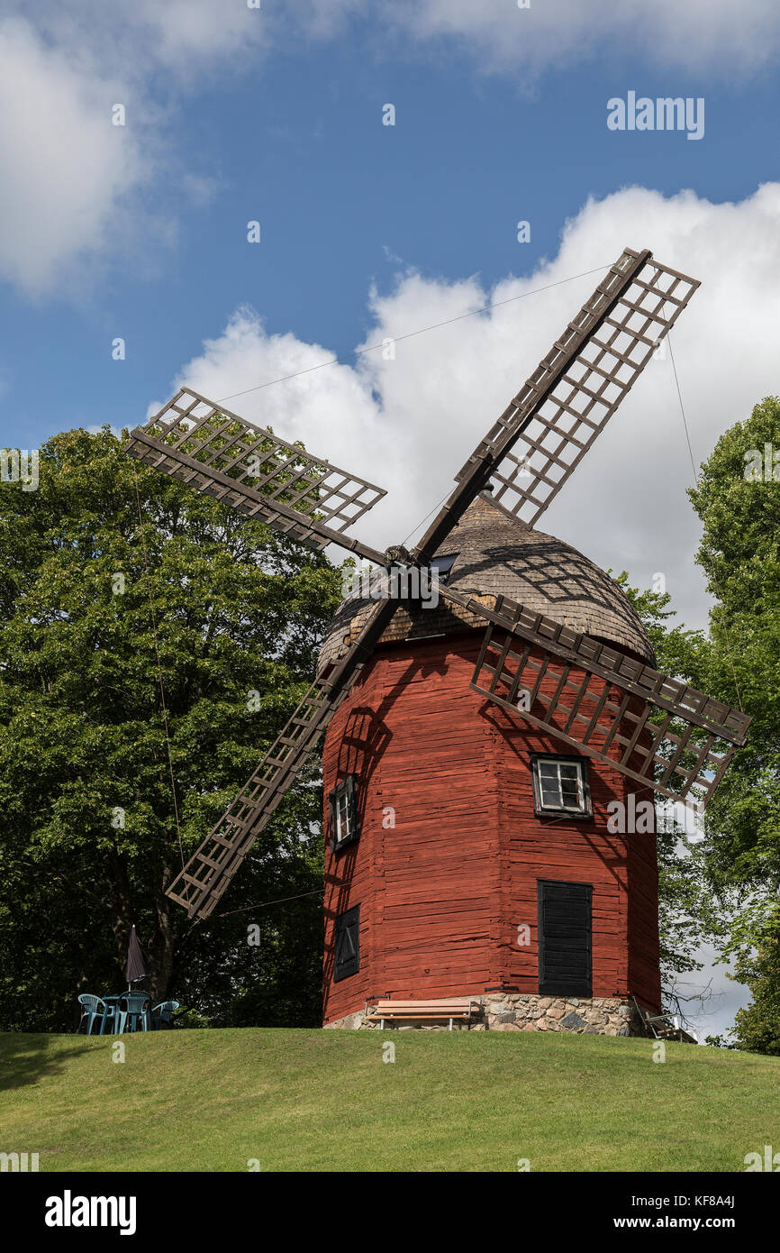 An old windmill in the town of Soderkoping in Ostergotland County in Sweden. - Stock Image