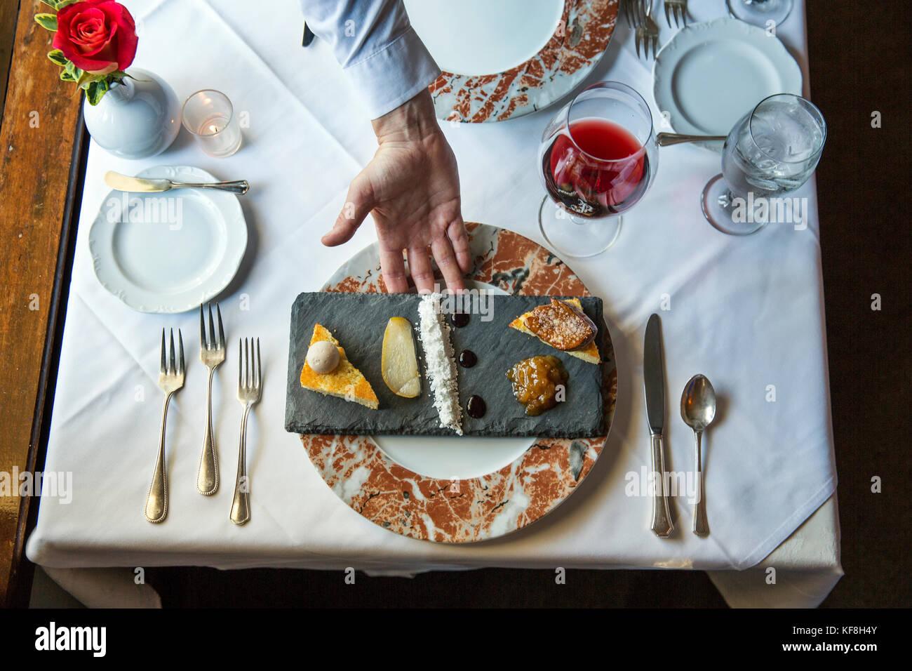 USA, Oregon, Willamette Valley, the Joel Palmer House Restaurant, Dayton, Foie Gras Two Ways, quince glaze, poached - Stock Image
