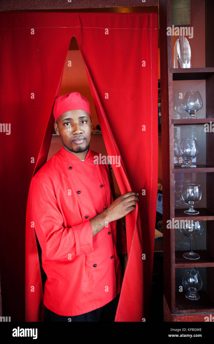 JAMAICA, Port Antonio. Portrait of kitchen staff at the Bush Bar at Geejam Hotel. - Stock Image