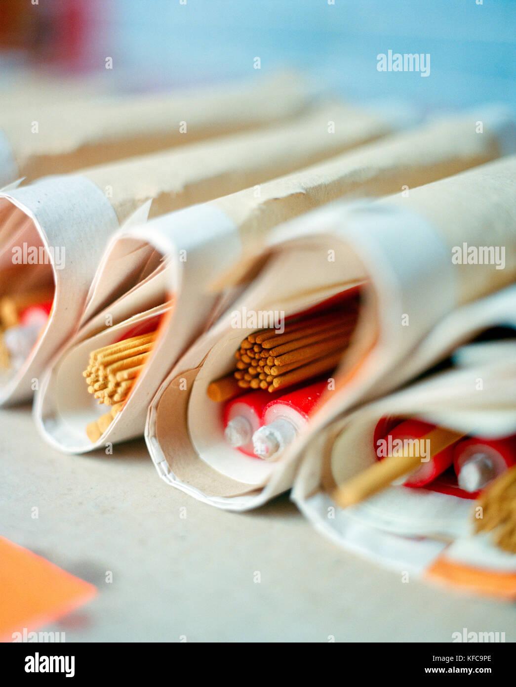 CHINA, Macau, Taipa, Asia, wrapped incense sticks at temple, close-up - Stock Image