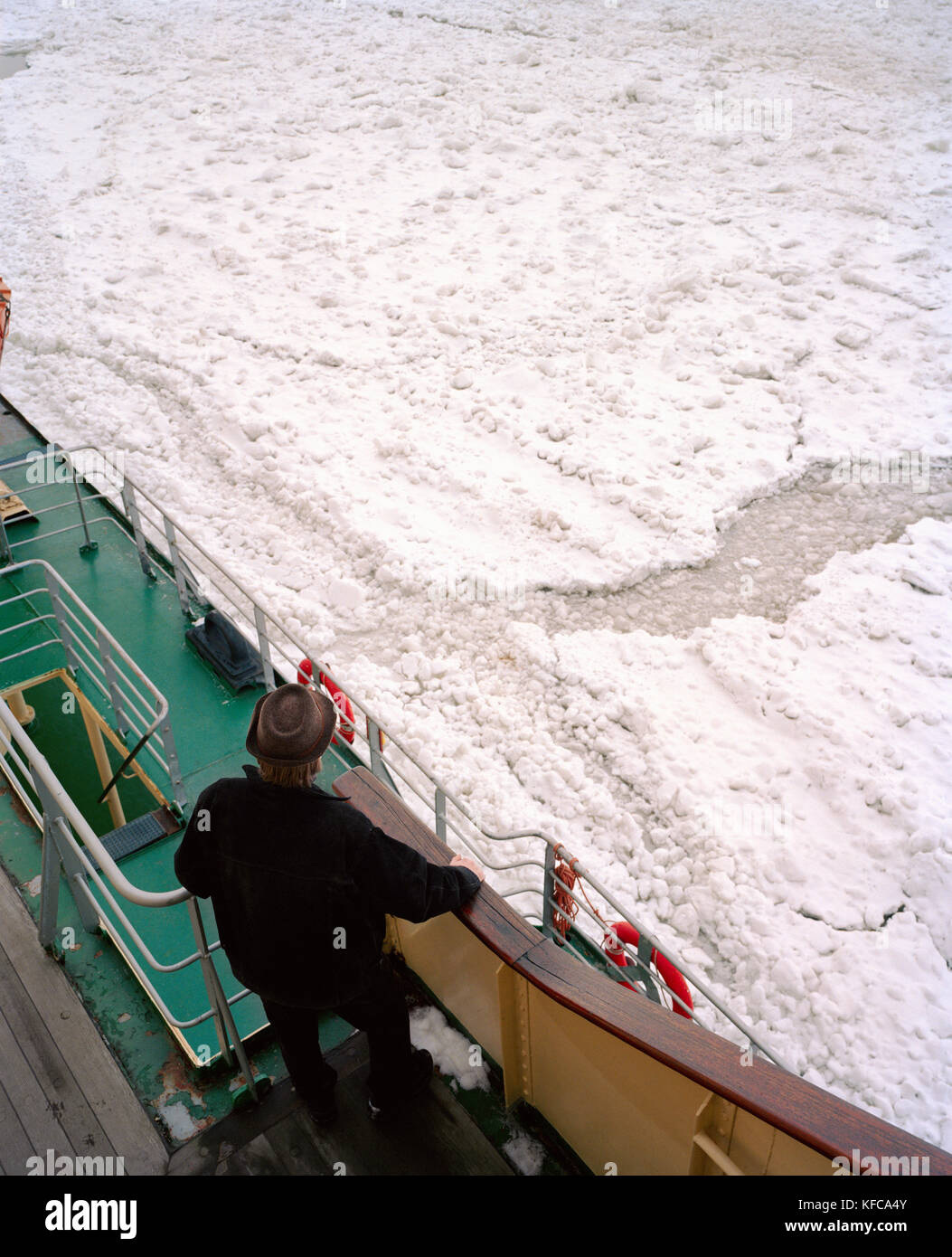 FINLAND, Kemi, Arctic, elevated view of a man standing onboard the ice breaker Sampo in Kemi. - Stock Image