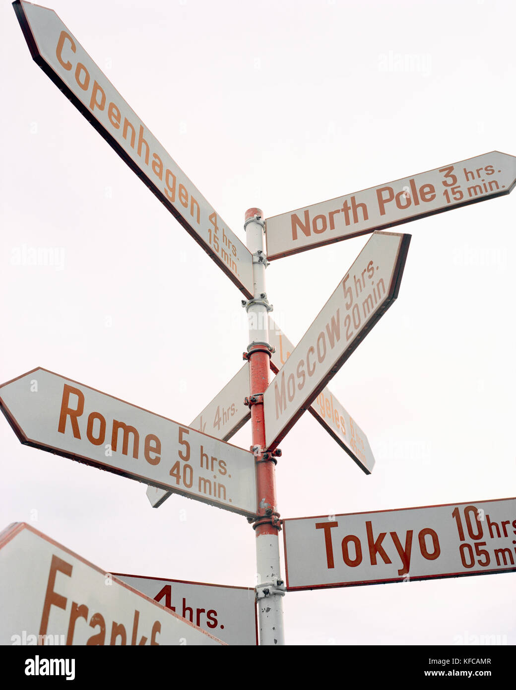GREENLAND, Kangerlussuaq, low angle view of direction signs against sky at the Kangerlussuaq Airport - Stock Image