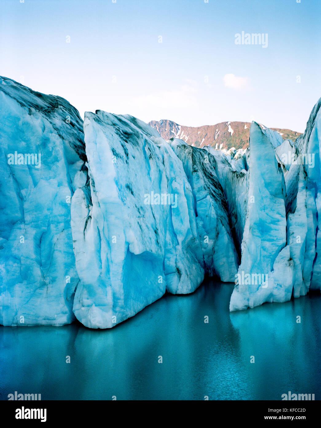 USA, Alaska, Colony Glacier in Chugach State Park in the Chugach Mountains (B&W) - Stock Image