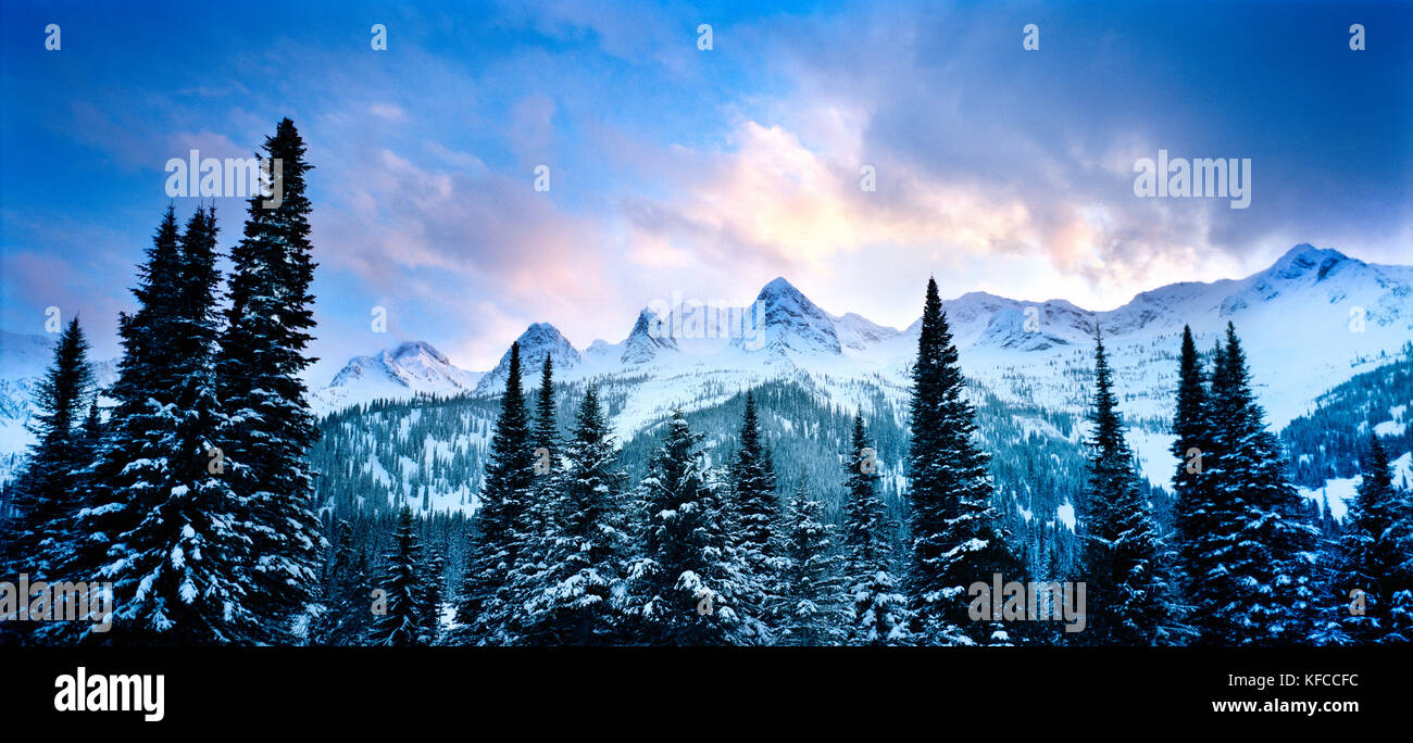 CANADA, BC Rockies, mountain landscape at dusk, Island Lake Lodge - Stock Image