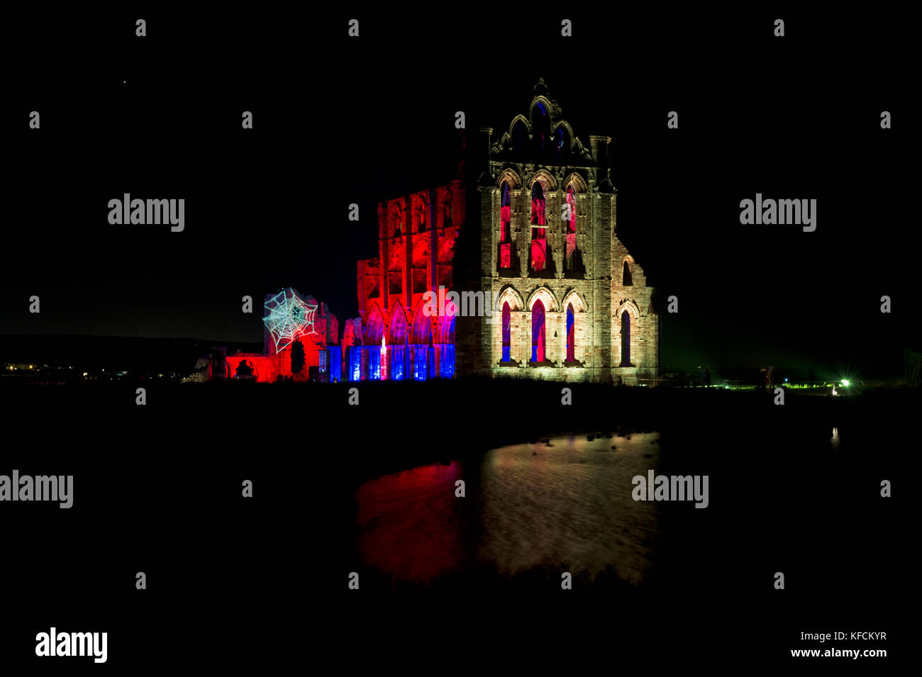 The annual illuminations of Whitby Abbey in Whitby, North Yorkshire - Stock Image