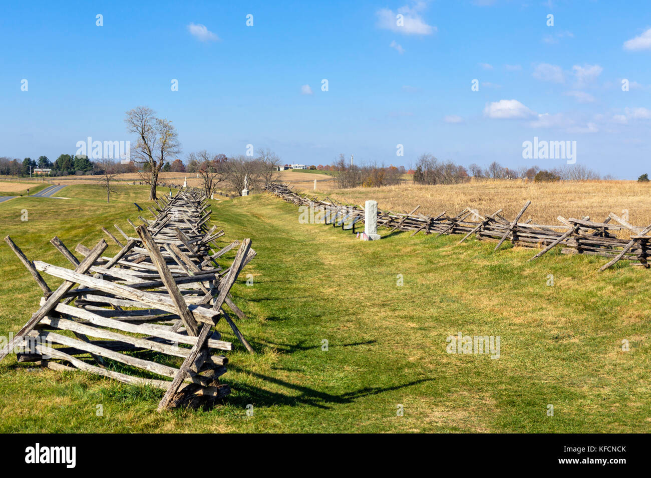 Bloody Lane (Sunken Road) looking towards the Visitor Center, Antietam National Battlefield, Sharpsburg, Maryland, - Stock Image