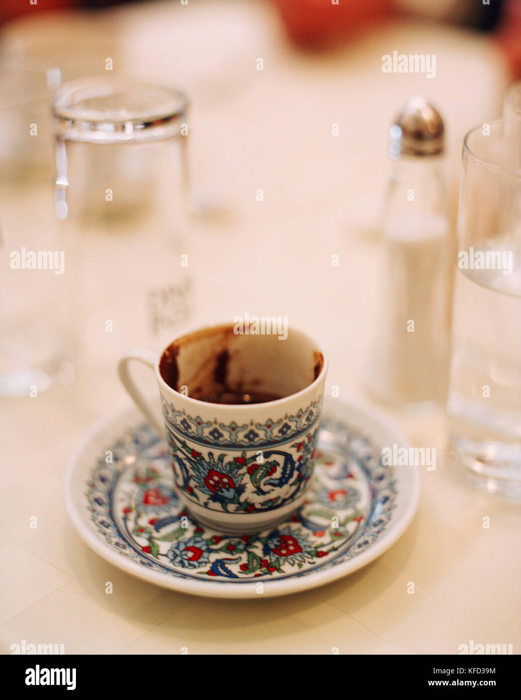TURKEY, Istanbul, close-up of Turkish coffee cup at Refik Restaurant. - Stock Image