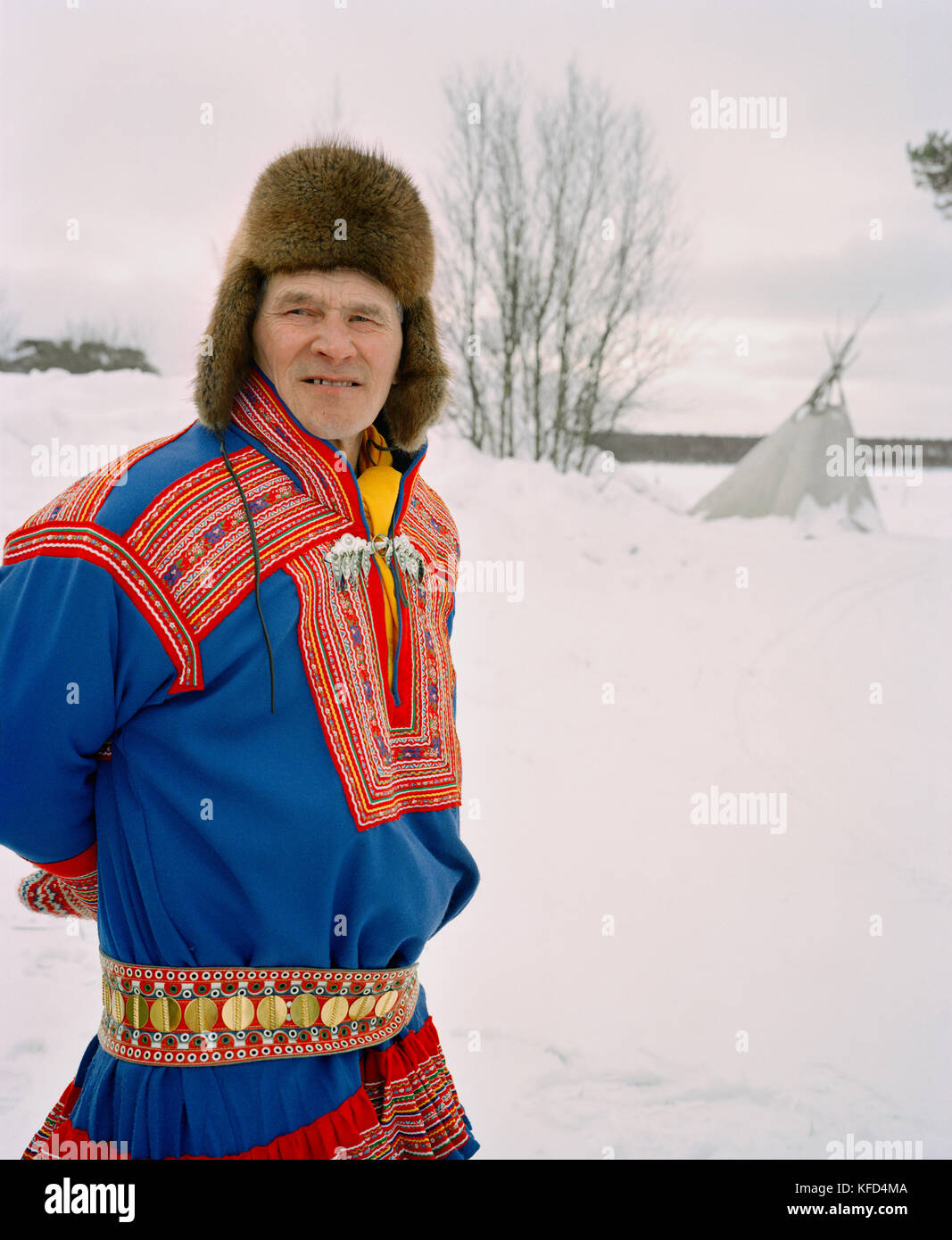 FINLAND, Hemet, Arctic, Sami man wearing a traditional Sami outfit during a Sami Festival in Hemet. - Stock Image